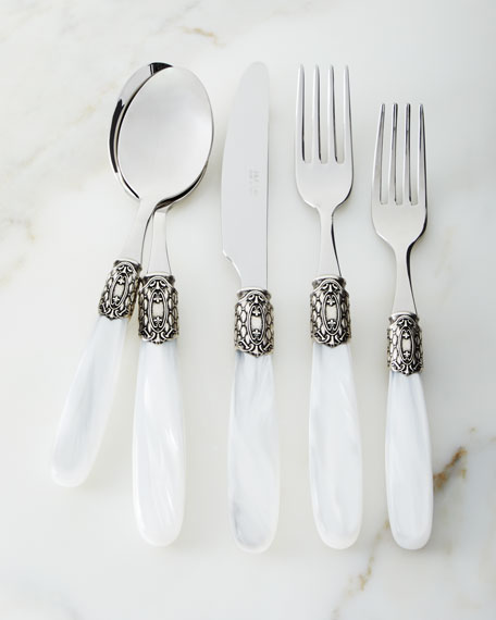 20-Piece Victoria Shine Flatware Set, White