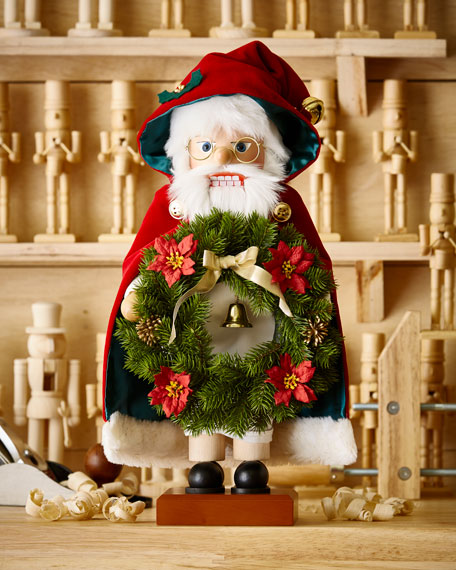 Santa with Wreath Nutcracker