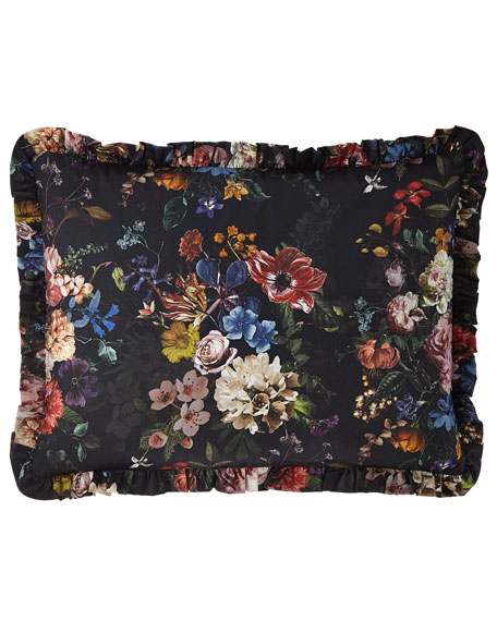 Midnight Garden Ruffled Standard Sham