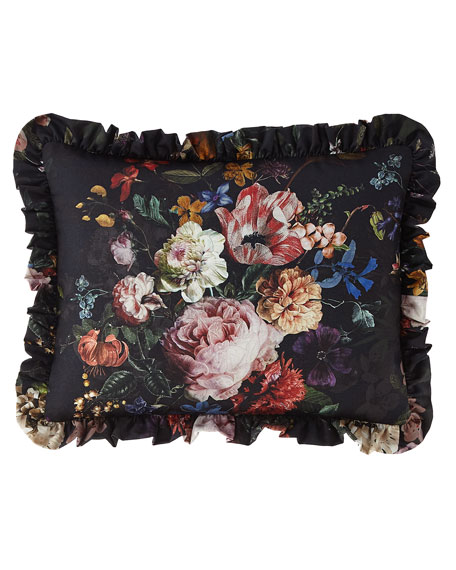 Midnight Garden Floral Pillow