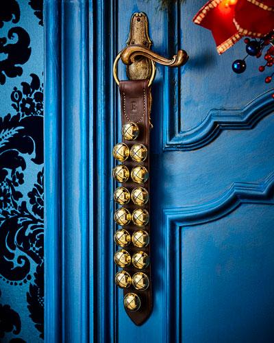 Brass Bells on Dark Brown Leather Strap