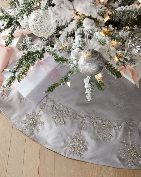 Crystal Christmas Snowflakes Tree Skirt