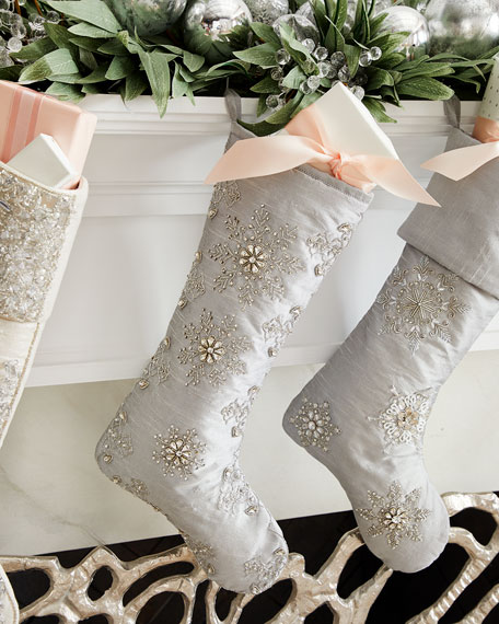 Crystal Christmas Snowflakes Stocking