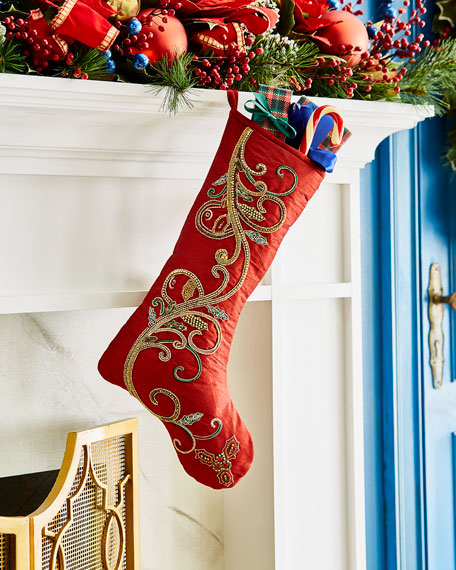 Classic Christmas Scroll Stocking