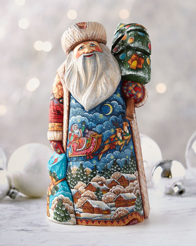 Up Up and Away Wood-Carved Santa