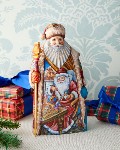 Christmas Workshop Wood-Carved Santa Limited Edition in Wooden Chest
