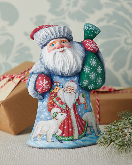 G. Debrekht Christmas Kingdom Wood-Carved Santa