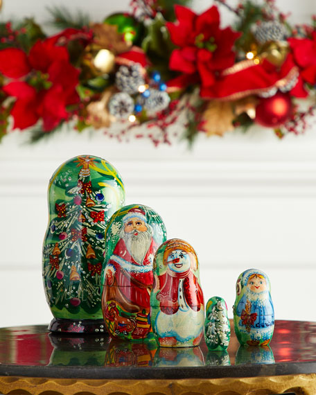 Mr. & Mrs. Christmas Nesting Dolls, Set of 5