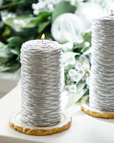 Silver Rope Short Candle