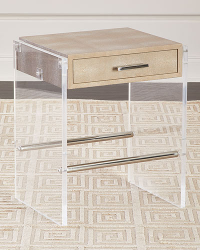 Lucy Faux Shagreen & Acrylic Side Table