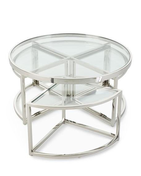Majestic Polished Nickel Coffee Table Set