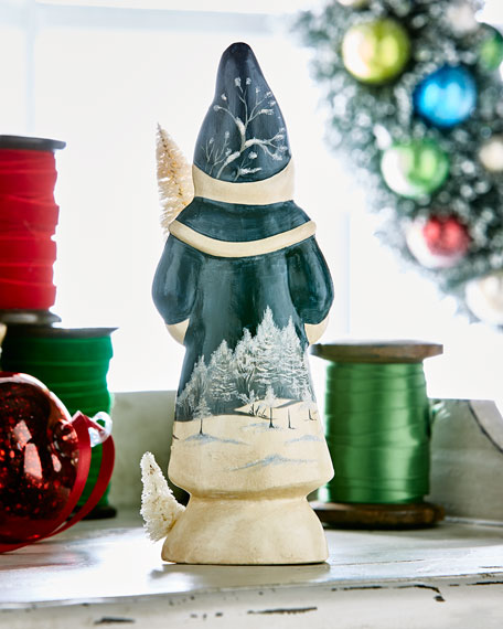 Blue Santa w/ Bowl Figurine