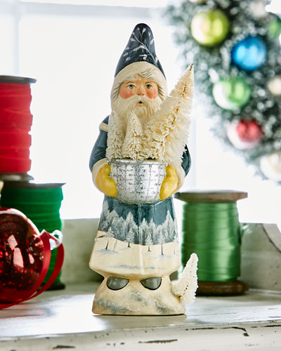 Blue Santa w/ Bowl Figurine