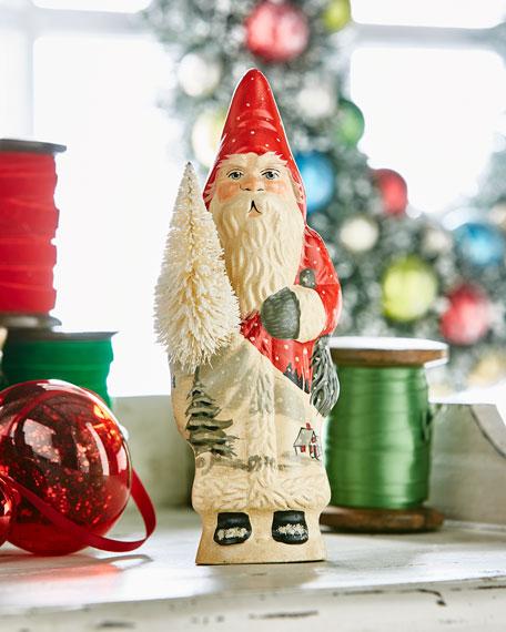 Village SceneFather Christmas w/ Tree Figurine