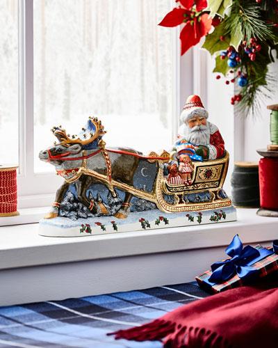Santa with Gold Sleigh Figurine