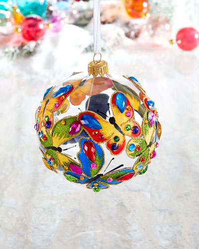 Clear Ball With Butterflies Christmas Ornament