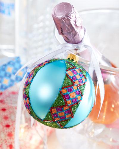 Aqua Glitter Ball Christmas Ornament
