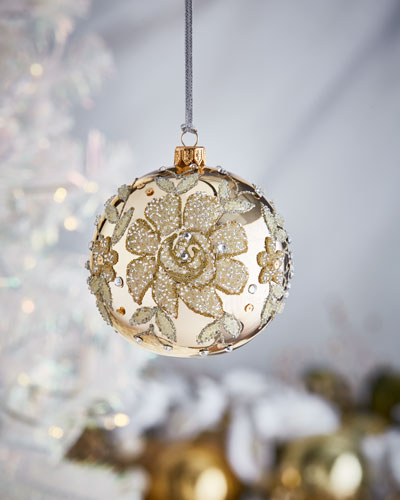 Gold Shiny Ball w/  Beaded Flowers Christmas Ornament