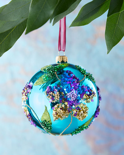 Teal Shiny Sequin Flower Ball  Christmas Ornament