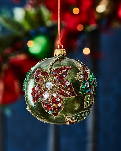 Poinsettia Flower Ball Christmas Ornament