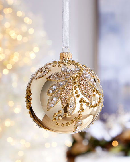 Champagne Ball With Beaded Leaves Christmas Ornament