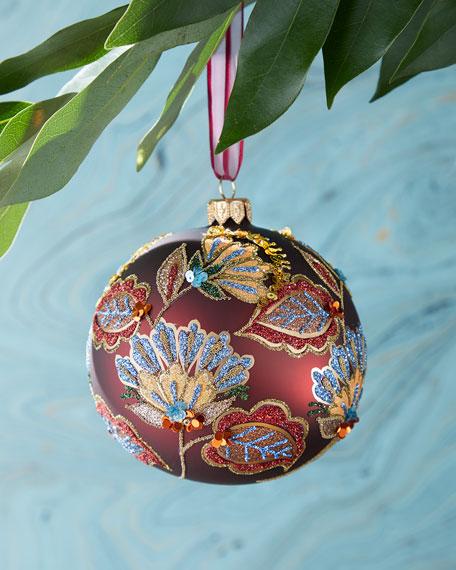 Burgundy Glitter Flower Ball Ornament