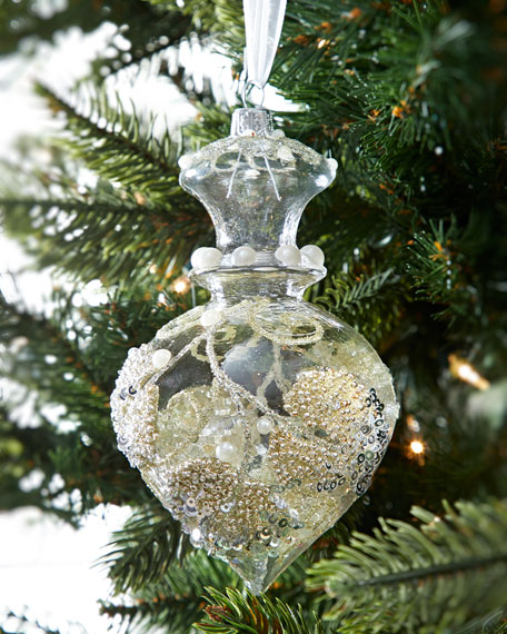 Clear Drop Pearly Sequin Finial Christmas Ornament