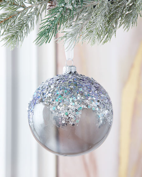 Silver Shiny Ball With Stone Christmas Ornament