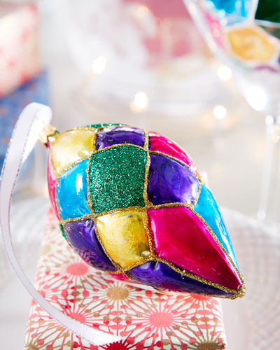 Multicolor Harlequin Finial Christmas Ornament