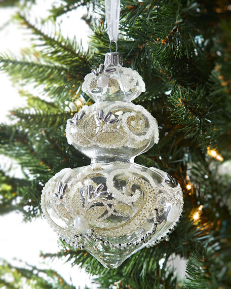 Clear Drop Finial With Swirls Christmas Ornament