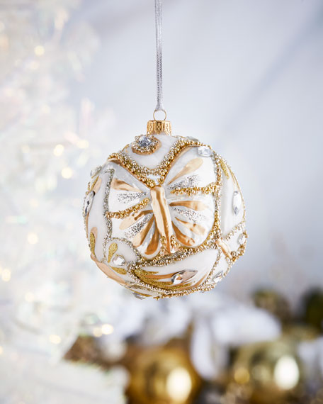 Gold And White Butterfly Ball Christmas Ornament