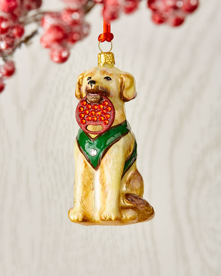 Yellow Lab Holding Ring Ornament