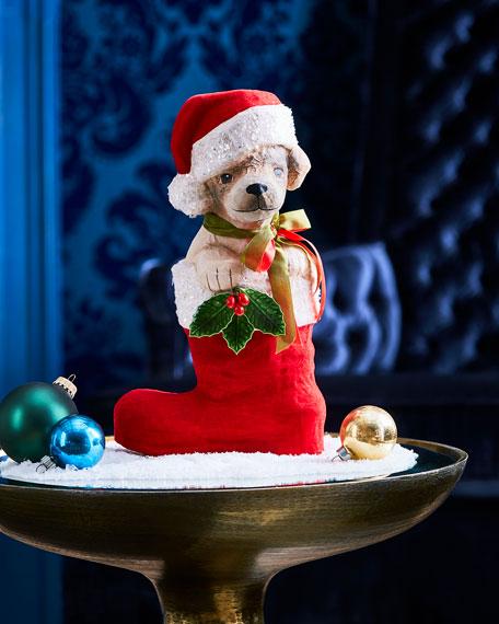 Puppy in Santa Boot