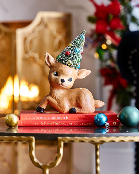 Merry and Bright Sitting Reindeer Figurine