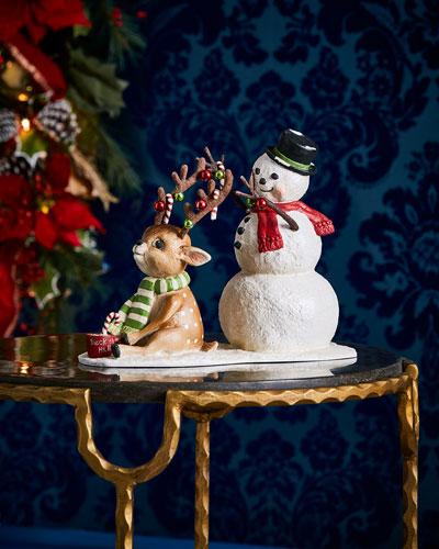 Deck the Halls Reindeer & Snowman Figurine