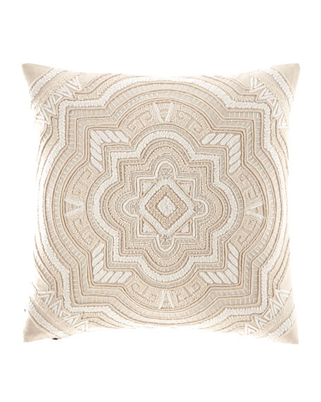 Multi Cord Embroidered Linen Pillow