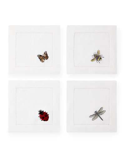 Embroidered Insects Cocktail Napkins  Set of 4