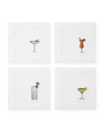 Embroidered Beverage Cocktail Napkins  Set of 4