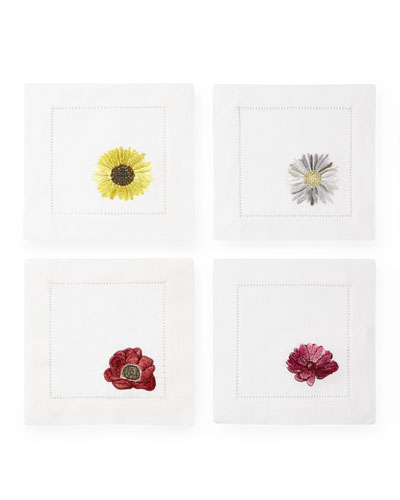 Embroidered Flowers Cocktail Napkins  Set of 4