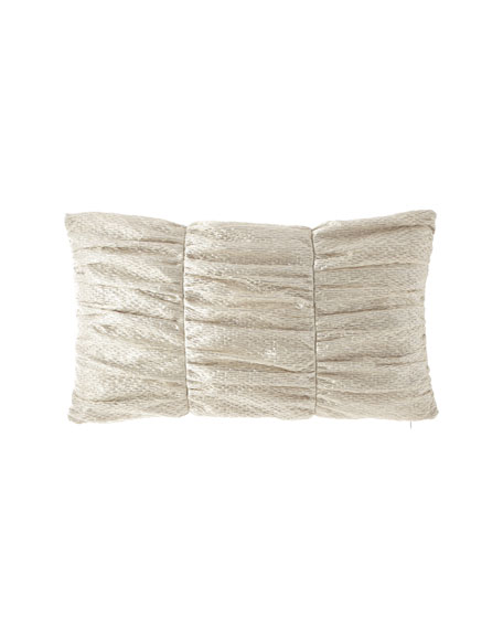 Classic Damask Rushed Oblong Pillow