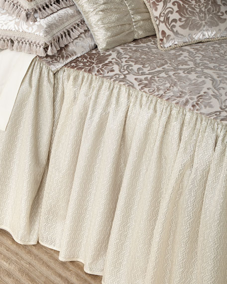 Classic Damask Skirted Queen Coverlet