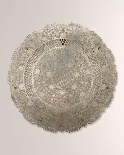 Penelope Lace Wall Art Medallion Antiqued Silver