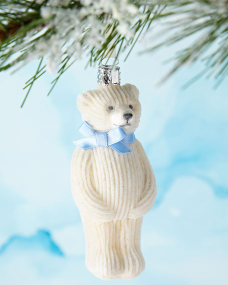 White Teddy Bear with Light Blue Bow Ornament