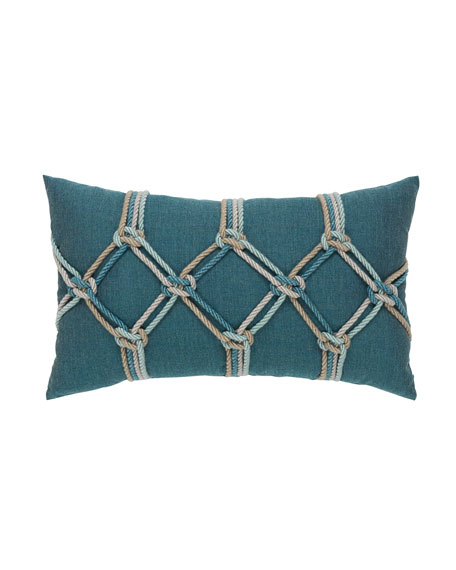 Rope Lumbar Sunbrella Pillow, Blue