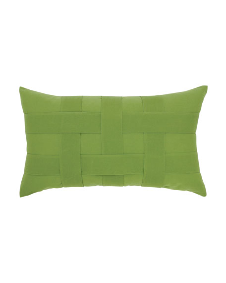 Elaine Smith Basketweave Lumbar Sunbrella Pillow, Green