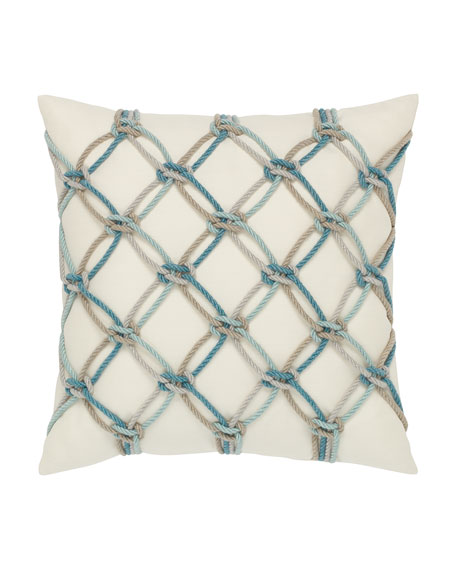 Rope Sunbrella Pillow, Turquoise