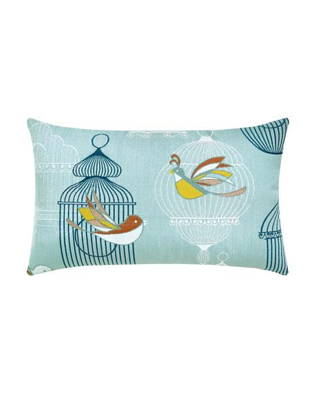 Birds Cages Lumbar Sunbrella Pillow