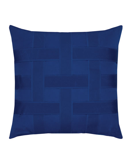 Elaine Smith Basketweave Sunbrella Pillow, Blue