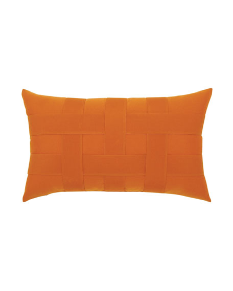Basketweave Lumbar Sunbrella Pillow, Orange