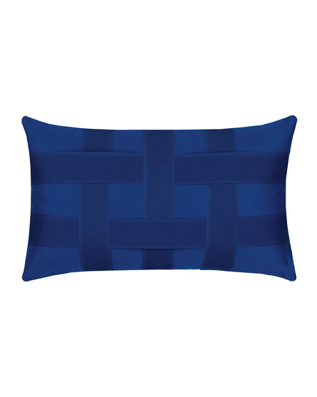 Basketweave Lumbar Sunbrella Pillow, Blue